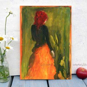 Holzbild Orangerot von Laumee