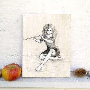 Holzbild Flöte von Laumee