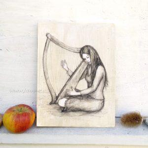 Die Harfe Holzbild von Laumee