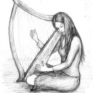 Laumee Fries: Die Harfe, Bleistiftzeichnung