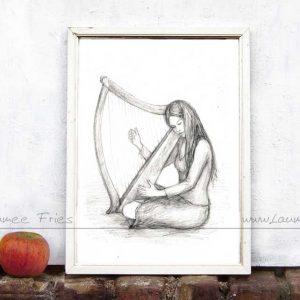Laumees Online-Shop: Kunstdruck Harfe