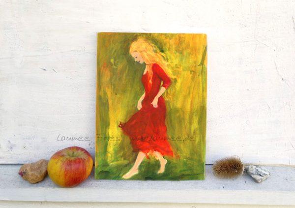 Holzbild Tantende mit rotem Kleid von Laumee