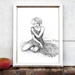 Kunstdruck Schwanenfrau White Feather von Laumee