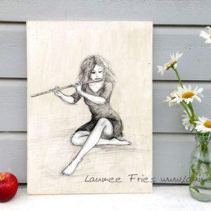 Laumee Fries Holzbild Flöte