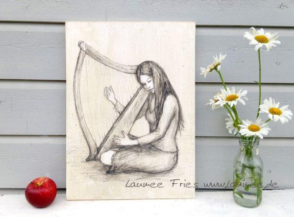 www.laumee.de Holzbild Harfe