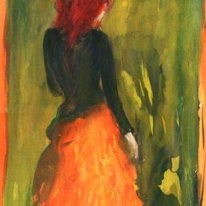 Tuschezeichnung Orangerot von Laumee