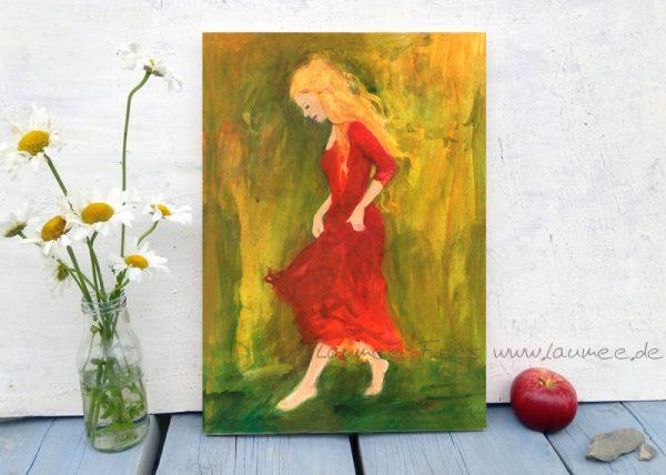 Laumee Fries tanzende im roten Kleid