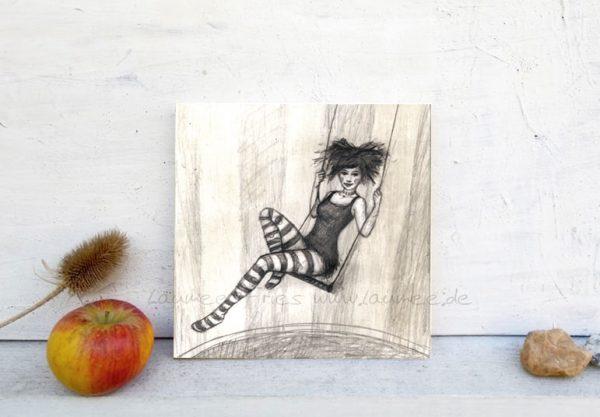 Laumee Fries: Bild auf Holz, Zeichnung Lemon
