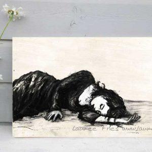 Kunstdruck auf Holz Liegende von Laumee