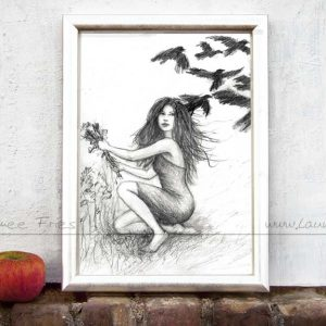 Die sieben Raben von Laumee Fries - Kunstdruck