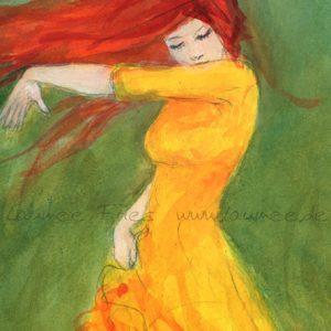 Laumee: Tanzende mit rotem Haar. Detail.