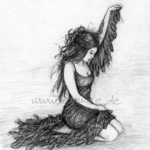 Laumee Fries, Die Schwanenfrau, Zeichnung, Bleistift