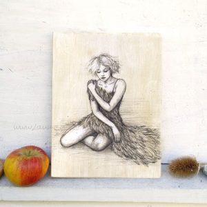 Holzbild on Laumee: Blonde Schwanenfrau