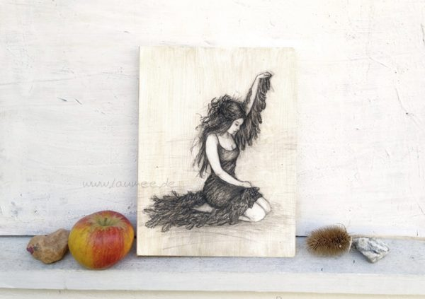 Holzbild von Laumee: Schwanenfrau