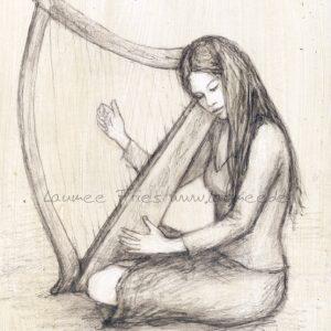 Die Harfe: Bleistiftzeichnung von Laumee