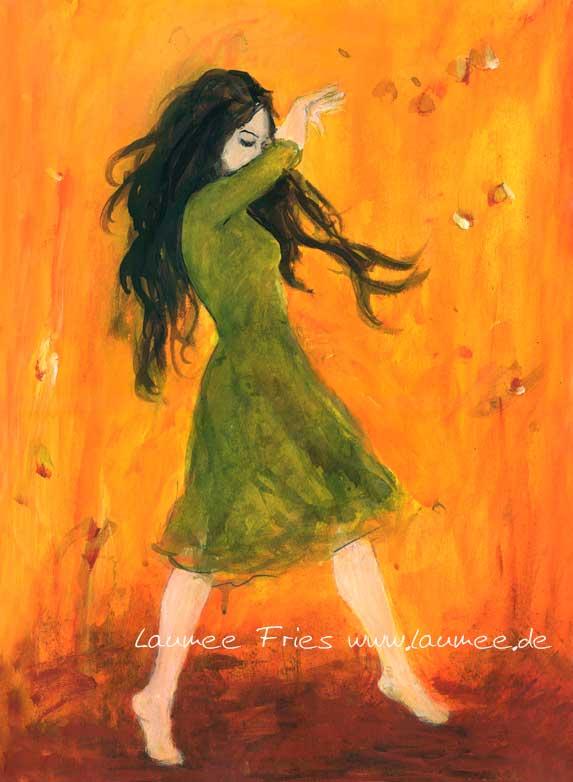 Laumee Fries tanzende im grünen Kleid