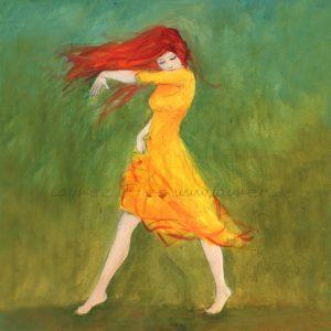 Laumee Holzbild: Tanzende mit rotem Haar