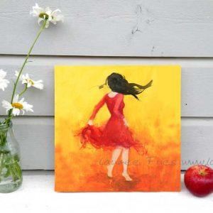Laumee - Holzbild Tanzende mit schwarzem Haar