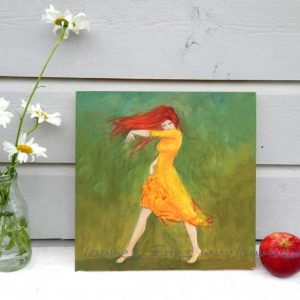 Laumee Fries Holzbild Tänzerin mit rotem Haar
