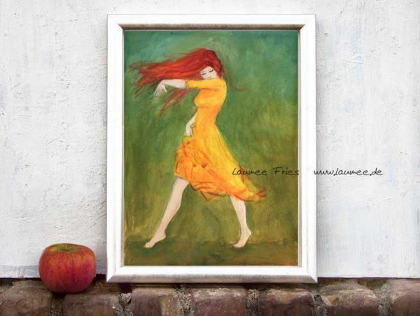 Tuschemalerei Kunstdruck von Laumee Tanzende mit rotem Haar
