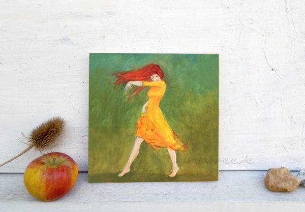 Holzbild von Laumee: Tanzende mit rotem Haar