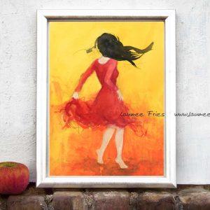 Kunstdruck von Laumee Tanzende mit schwarzem Haar