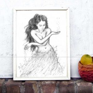 Water. Bleistiftzeichnung von Laumee. Kunstdruck